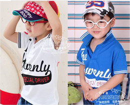 Wholesale 2013 Fashion Summer BOYS Shirts Children Clothes Boy Numbers Cotton Turndown Collar T Shirts