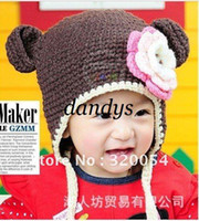 Wholesale 5pcs Autumn and winter monkey shape by hand knit children s hats boy and girl wool caps red c
