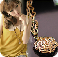 Pendant Necklaces   2013 New Fahsion Rose Flowers With Diamond Pendant Womens Necklaces Long Crystal Gold Necklace