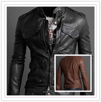 Wholesale Hottest Sale Korean Mens Leather Jacket Coat Pocket Collar British Style Mens Leather Jacket Coat SY