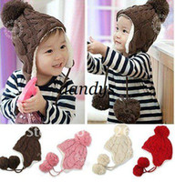 Winter beanie babies headwear - CPAM Baby Winter Warm Beanie Hat Earflap Fur Cap Ski Hats Children Headwear Y
