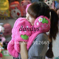 Wholesale 5set set earmuffs scarf Strawberry warm set winter fleece earflap and scarf glove