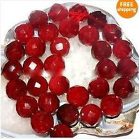 Wholesale 10mm Faceted Red Ruby Round Loose Beads Gemstone quot AAA