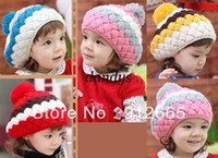 Wholesale 5pcs Fashion striped baby knitted beret hat girl s woolen cap children bonnie hats