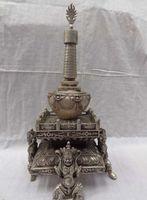 Wholesale 16 quot China Silver Lion Head Tibet Shakyamuni Mahakala Buddha Statue Stupa Tope