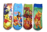Wholesale 20 pairs Winnie Pooh cartoon children socks kid s knitted home socks free shippping