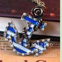 Wholesale 24pcs Fashion Sea Anchor Necklace Blue Rose Flower Necklace Pendant