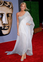 award making - Oscar award one shoulder lace applique chiffon custom made silver grey evening prom dress celebrity dress