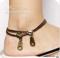 Wholesale New Arrivals Hot Antique Brass Fashion Retro zipper Anklet unisex No