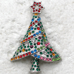 12pcs lot Wholesale Crystal Rhinestone Christmas tree Pin Brooch Christmas gifts jewelry C682