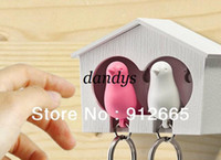 Wholesale Double sparrow style wooden key box safe key holder with whistle