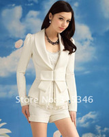 Wholesale 2012 New Coats Women Outwear White Suits Slim Fit Bowknot OL Style Long Sleeve Ladies Coat Small Sui