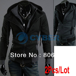 Wholesale 2Pcs Autumn Winter Men Double Zippers Hooded Sweatshirt Men s Hoodies Outerwear Sizes Free S