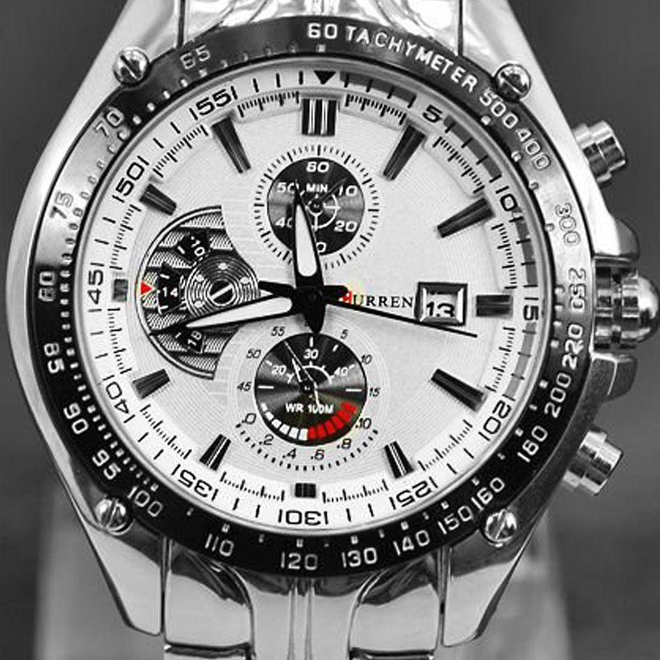 Wrist watches brands for mens - 2012 Curren Dial Water Quartz Hours Date Silver Hand Sport Men Steel Wrist Watch Top Brand