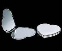 Wholesale SILVER COMPACT MIRRORS METAL HEART SHAPED MAKEUP CASES