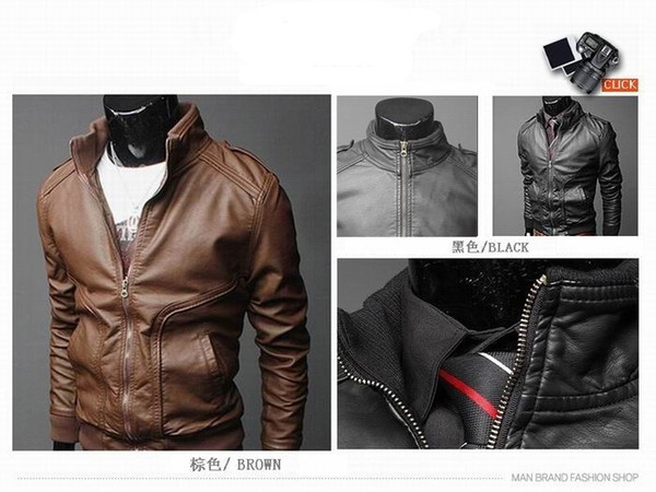 Wholesale - PU Leather Jacket For Men Slim Motorcycle Jackets High Neck Waterproof Coat PY08