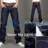 Wholesale Korea Slim Fit Classic Mens Jeans Trousers Straight Leg Blue Size Button New