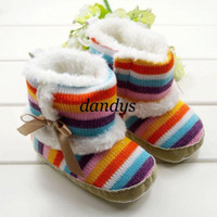 Wholesale Rainbow Stripes Baby snow cotton boots infant kids cute first walker shoes Christmas