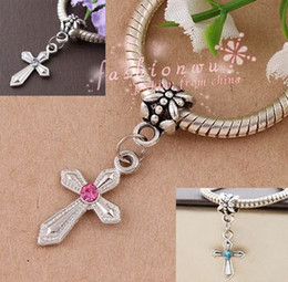 Hot ! 100Pcs mix color Rhinestone Sword Shaped Cross Charm Dangle Bead Fit Charm Bracelet DIY Jewelry 12mm*30mm