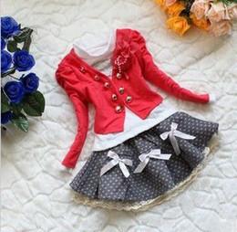 baby suits Girl's 3pieces sets Coat+cotton T-shirt+short skirt HQ Autumn Baby clothes set