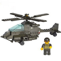 Wholesale Candice guo Building blocks set Apache helicopters fighter plane educational plastic toy disassembl