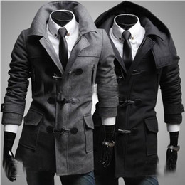Wholesale 2013 Men s coat Removable hood Men s worsted Loose trench coat Slim Horn button Overcoat