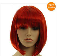 Wholesale Hot Sell New Fashion Short Red Straight Bangs Bob Women s Lady s Hair Wig Wigs