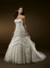 Wholesale 2014 Hot Sale Elegant Strapless Sleeveless Pleat Floor Length Lace A line Organza Bridal Wedding Dress