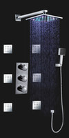 Wholesale Wall Mounted Brass Thermostatic Bath Shower Faucet Set Inch LED Colors Rain Shower Head