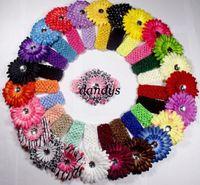 Flower 1.5 crochet headbands - 1 quot crochet headband w daisy flowers clips little girls hairband children s Hair Accessories headw