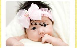 Wholesale bebé muchachas del niño rosa bandas para la cabeza de encaje blanco hairband gran lazo de gasa accesorios del boutique sombreros