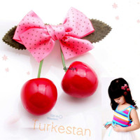 Wholesale kids girl hair clip cute cherry ribbon bow hairpin children Hair accessory hair accessory barrettes