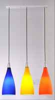 Wholesale The modern the simple meals chandelier dining table light bar orange blue tri color