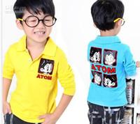 Girl atom girl - Hot New BOYS Shirts Children Clothes QC9559 Boy ATOM Turndown Collar Long Sleeve T Shirts