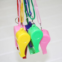 Wholesale 2880PCS Promotion colorful plastic Sport whistle with lanyard colors mixed
