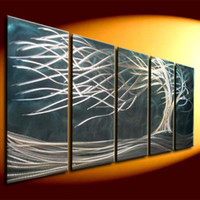 One Panel abstract metal wall art - metal sculpture art wall blue tree oil painting on metal hug modern art wall abstract wall art