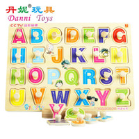 Zhejiang China (Mainland) abc letter recognition - Candice guo hot sale Danni toys ABC puzzle board educational wooden toy letters recognition English