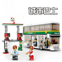 Wholesale Candice guo newest Building blocks set double deckers bus with gas station plastic toy with as