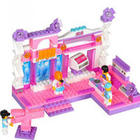 Wholesale Candice guo Building blocks set girls pink dream fantastic stage educational plastic toy kids toy