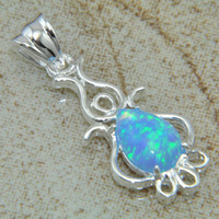 Wholesale Hot sales silver jewelry Blue fire opal gemstone Pendant jewelry LP0855