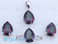 Wholesale Best Engagement amp Retail Gift Fashion jewelry Silver Gemstone Jewelry Sets Earrings Pe