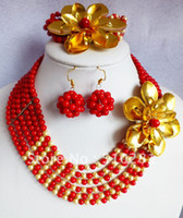 coral coral necklace - Red coral shell metal flower necklace bracelet earrings set