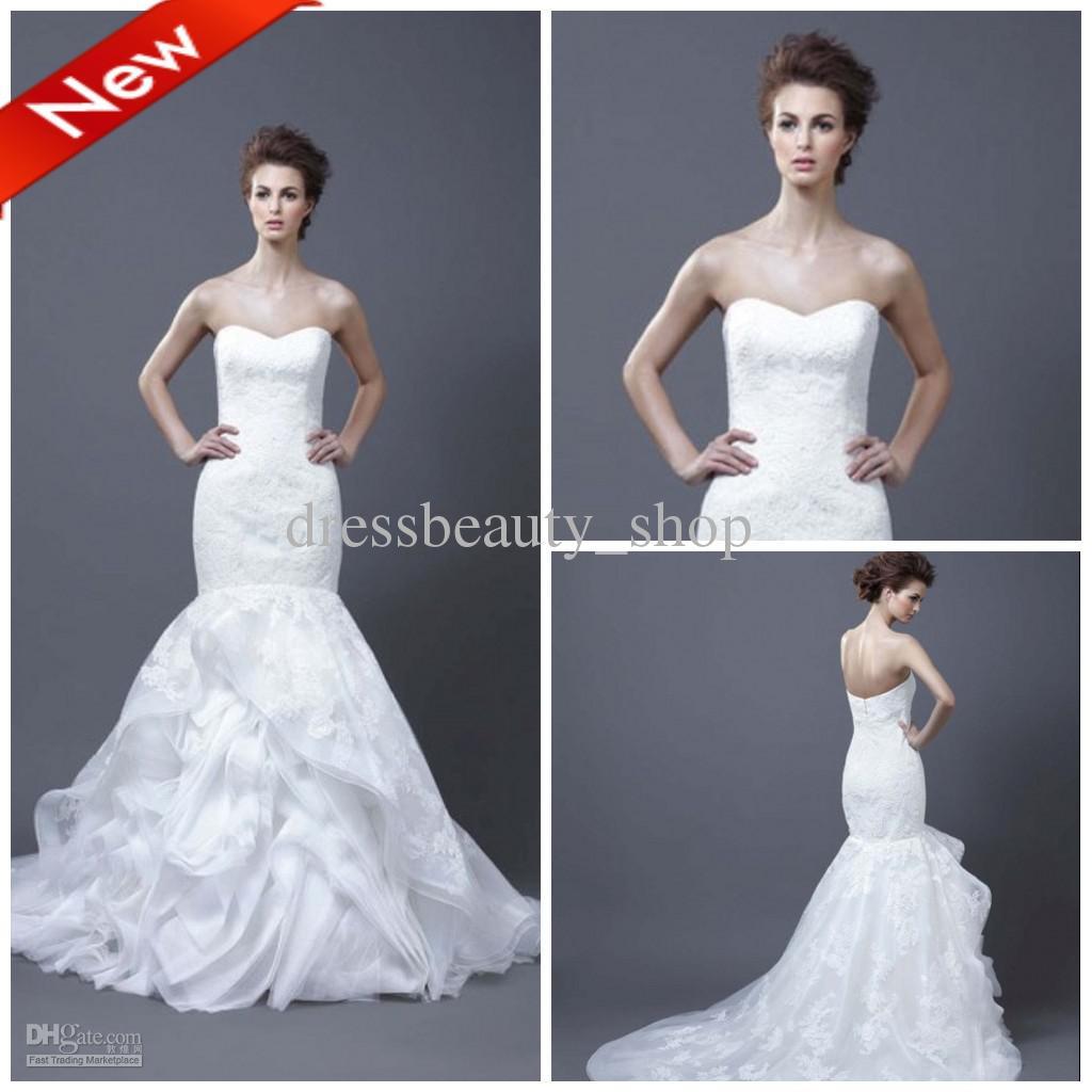 Organza Sweetheart y Mermaid Wedding Dresses 2013