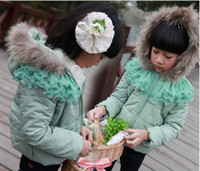 Girl 4-8Year Winter Girl coat Raccoon collars jacket coats Starlight children's Clothing children gauze Outwear clothing
