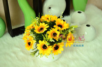 Wholesale Silk Artificial Simulation Sunflower heads sunflower wedding Party Decoration