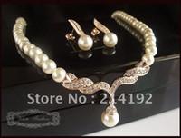 Wholesale Rose Gold Plated Beautiful Cream Pearl and Rhinestone Crystal Teardrop Wedding Jewellery Set Necklac
