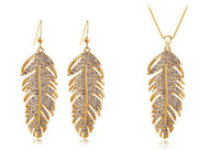 Wholesale 18k gold plated austrian crystal feather wedding jewelry sets