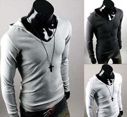 Wholesale Men s Casual Long Sleeve Hoody T shirts Slim Hoodies Shirts T shirt color M XXL