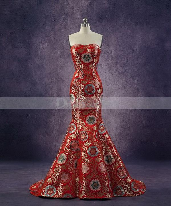 Wholesale Prom Dresses Buy 2014 New Coming Dark Red Chinese