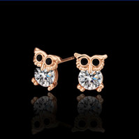 Wholesale Top quality plated K rose gold inlaid zircon owl stud earrings fashion jewelry